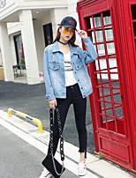 Women's Sports Going out Simple Spring Fall Denim Jacket,Solid Print Shirt Collar Long Sleeve Regular Others Embroidered