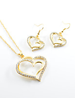 Women's Drop Earrings Necklace Love Rhinestone Alloy Heart Earrings Necklace For Wedding Party Wedding Gifts