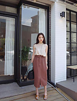 Women's Going out Simple Summer Tank Top Skirt Suits,Solid Round Neck Sleeveless