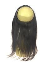 luxuoso virgem brasileira virgem reta encerado frontal frontal pré arrancado fecho frontal de renda 360 com cabelo natural cor natural