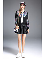 JOJO HANS Women's Casual/Daily Simple Fall Jacket,Solid Print Round Neck Long Sleeve Short Cotton Polyester