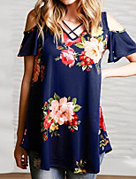 Women's Casual/Daily Simple Summer T-shirt,Floral V Neck Short Sleeves Polyester Medium
