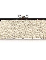 Women Bags All Seasons Polyester Evening Bag Crystal Detailing Pearl Detailing for Wedding Event/Party Champagne Black Beige Almond