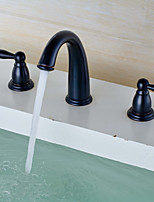 Widespread Widespread with  Brass Valve Two Handles Three Holes for  Oil-rubbed Bronze , Bathroom Sink Faucet