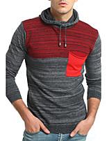Standard Pullover Da uomo-Casual Semplice Monocolore Con cappuccio Manica lunga Cotone Primavera Autunno Sottile Media elasticità