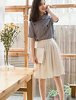 Women's Going out Vintage Summer Shirt Skirt Suits,Striped Shirt Collar Short Sleeve