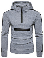 Men's Casual/Daily Hoodie Color Block Hooded Micro-elastic Polyester Long Sleeve Fall Winter