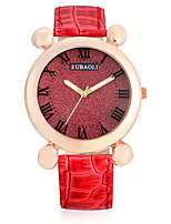 JUBAOLI Women's Fashion Watch Wrist watch Chinese Quartz Large Dial Leather Band Charm Luxury Cool Casual White Red Brown
