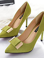 Women's Shoes PU Spring Comfort Heels Stiletto Heel Pointed Toe For Casual Green Gray Black