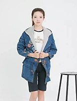 Women's Going out Casual/Daily Simple Spring Fall Denim Jacket,Solid Color Block Hooded Long Sleeve Long Cotton Polyester Others