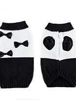 Cat Dog Sweater Dog Clothes Casual/Daily Keep Warm Bowknot White/Black