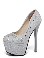 Women's Shoes Synthetic Spring Fall Comfort Heels Stiletto Heel Round Toe Rhinestone For Outdoor Office & Career Silver Black