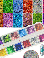12Colors/Box Colorful Glitter Sequins Nail Art Laser Thin Slice Paillette Manicure DIY Glisten Decoration