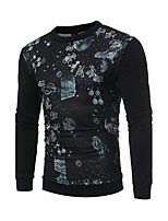 Men's Casual/Daily Simple Sweatshirt Print Round Neck Micro-elastic Cotton Long Sleeve Spring Fall