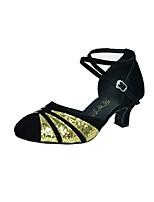 Da donna Danza moderna Sintetico Lustrini Tacchi Professionale Con fermaglio di chiusura Tacco cubano Argento/nero Nero e Oro Rosso