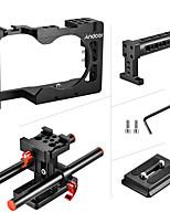 andoer caméra en aluminium cage cage handle 2 système de cathéter réglé pour sony a6500 rouge