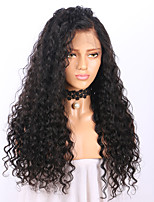 Women Human Hair Lace Wig Brazilian Human Hair Glueless Lace Front 130% Density With Baby Hair Deep Wave Wig Black Long Natural Hairline