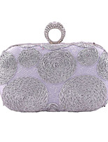 Women Bags All Seasons Polyester Evening Bag Appliques for Wedding Event/Party Black Silver