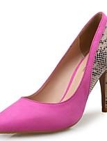 Feminino Sapatos Flanelado Outono Inverno Conforto Saltos Salto Agulha Dedo Apontado Combinação Para Social Festas & Noite Laranja Fúcsia