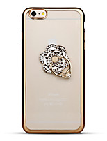 Per iPhone 6 iPhone 6 Plus Custodie cover Con diamantini Placcato Supporto ad anello Transparente Custodia posteriore Custodia Fiore