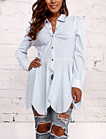 Women's Casual/Daily Work Simple Street chic Spring Fall ShirtSolid Shirt Collar Long Sleeves Polyester Medium