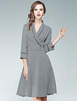 Fodero Vestito Da donna-Per uscire Casual Moda città Pied-de-poule A V Al ginocchio Mezza manica Poliestere Autunno A vita alta Anelastico