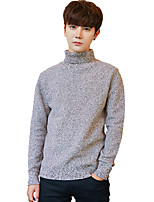 Men's Casual/Daily Simple Regular Pullover,Solid Turtleneck Long Sleeves Cotton Fall Winter Medium Micro-elastic