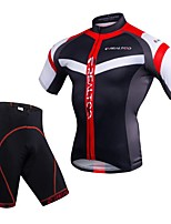 Realtoo Cycling Jersey with Shorts Men's Short Sleeves Bike Clothing Suits Quick Dry Breathability 3D Pad Lightweight Spandex 100%