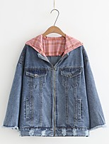 Women's Going out Casual/Daily Simple Spring Fall Denim Jacket,Solid Letter Hooded Long Sleeve Regular Cotton Others