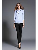 Camicia Da donna Casual Ufficio Semplice Primavera Autunno,A strisce Colletto Poliestere Manica a 3/4 Medio spessore