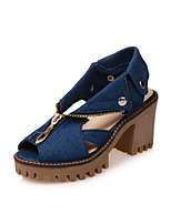 Women's Shoes Nubuck leather Denim Spring Fall Comfort Novelty Heels Chunky Heel Peep Toe Rivet Zipper For Office & Career Dress Light