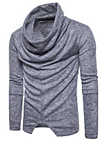 Men's Casual/Daily Long Pullover,Solid Round Neck Long Sleeves Cotton Fall Winter Medium Micro-elastic