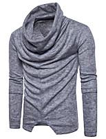 Herren Lang Pullover-Lässig/Alltäglich Solide Rundhalsausschnitt Langarm Baumwolle Herbst Winter Mittel Mikro-elastisch