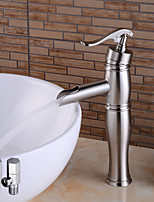 Contemporary Deck Mounted Ceramic Valve Single Handle One Hole for  Nickel Brushed , Bathroom Sink Faucet