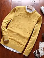 Men's Daily Casual Regular Pullover,Mixed Color V Neck Long Sleeve Cotton Fall Winter Medium Micro-elastic