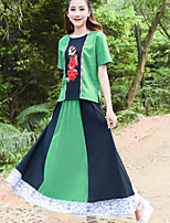 Women's Going out Boho Summer T-shirt Skirt Suits,Striped Floral Round Neck Short Sleeve