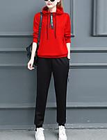 Для женщин Спорт На каждый день Лето Осень Зима Толстовка Брюки Костюмы Простой Уличный стиль Изысканный Однотонный Длинный рукав