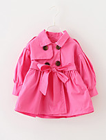 Girls' Solid Trench Coat,Cotton Fall Long Sleeve