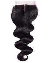 16inch 100g 4 * 4 cabelo remy brasileiro corpo cintura encerado laço 100% humano cabelo natural preto parte do meio