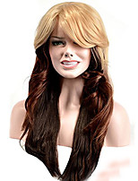 Women Synthetic Wig Capless Long Wavy Blonde Ombre Hair With Bangs Natural Wigs Costume Wig