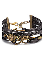 Men's Women's Leather Bracelet Wrap Bracelet Jewelry Friendship Multi Layer Punk Adjustable DIY PU Alloy Owl Infinity Jewelry For Daily