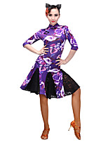 Latin Dance Dresses Women's Performance Stretch Yarn Lace Flannel 1 Piece Long Sleeve Dresses