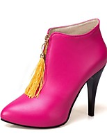 Women's Shoes Leatherette Winter Bootie Boots Stiletto Heel Pointed Toe Booties/Ankle Boots Zipper Tassel For Casual Dress Fuchsia Yellow
