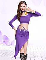 Belly Dance Outfits Women's Performance Modal 2 Pieces 3/4 Length Sleeve Natural Skirts Tops