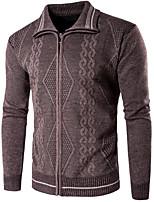 Standard Cardigan Da uomo-Per uscire Tinta unita Colletto Manica lunga Altro Primavera Inverno Medio spessore Media elasticità
