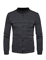 Men's Casual/Daily Simple Sweatshirt Solid Stand Micro-elastic Polyester Long Sleeve Spring Fall