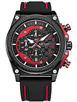 Men's Sport Watch Quartz Silicone Band Casual Black Red Yellow