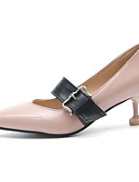 Women's Shoes PU Spring Summer Basic Pump Light Soles Heels Low Heel Pointed Toe Buckle For Office & Career Dress Dark Brown Blushing