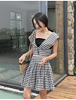 Women's Going out Simple Summer Tank Top Skirt Suits,Plaid/Check V Neck Sleeveless