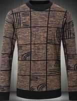Men's Work Regular Pullover,Print Round Neck Long Sleeves Cotton Winter Medium Micro-elastic